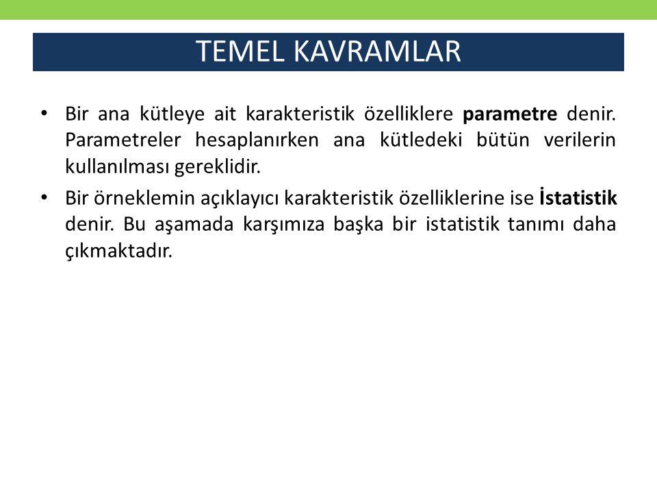 TEMEL KAVRAMLAR Bir ana kütleye ait karakteristik özelliklere parametre denir.