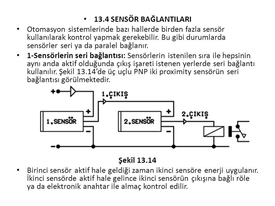 13.4 SENSÖR BAĞLANTILARI Otomasyon sistemlerinde bazı hallerde birden fazla sensör kullanılarak kontrol yapmak gerekebilir.