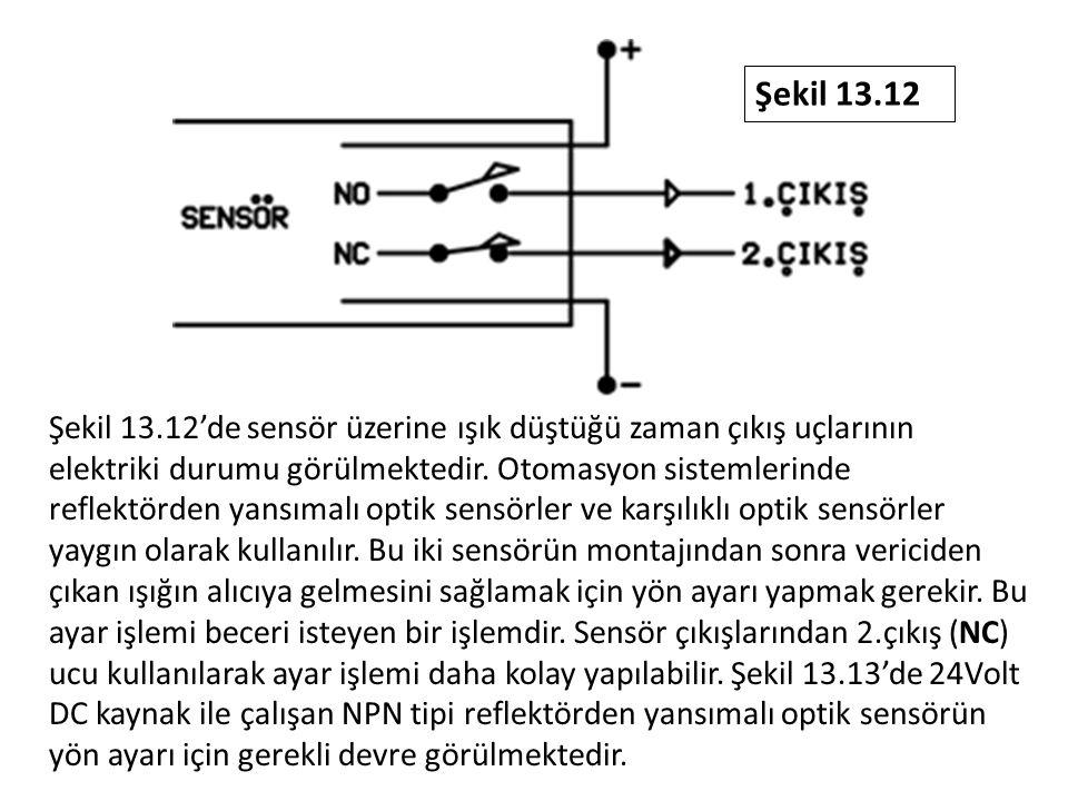 Şekil 13.12'de sensör üzerine ışık düştüğü zaman çıkış uçlarının elektriki durumu görülmektedir. Otomasyon sistemlerinde reflektörden yansımalı optik
