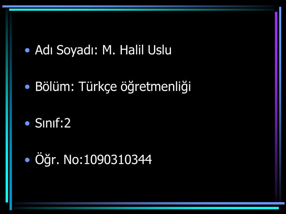 Adı Soyadı: M. Halil Uslu Bölüm: Türkçe öğretmenliği Sınıf:2 Öğr. No:1090310344