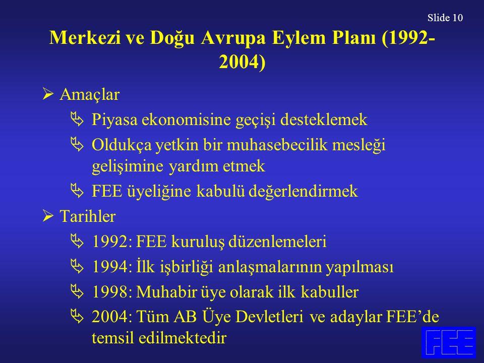 Slide 10 Merkezi ve Doğu Avrupa Eylem Planı (1992- 2004)  Amaçlar  Piyasa ekonomisine geçişi desteklemek  Oldukça yetkin bir muhasebecilik mesleği gelişimine yardım etmek  FEE üyeliğine kabulü değerlendirmek  Tarihler  1992: FEE kuruluş düzenlemeleri  1994: İlk işbirliği anlaşmalarının yapılması  1998: Muhabir üye olarak ilk kabuller  2004: Tüm AB Üye Devletleri ve adaylar FEE'de temsil edilmektedir