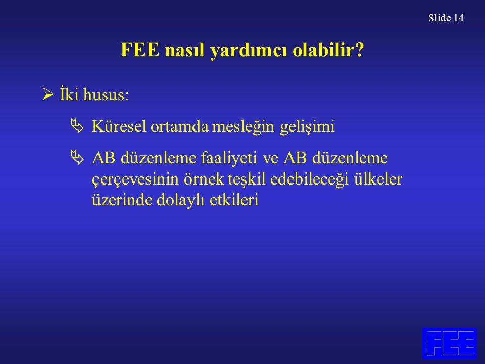 Slide 14 FEE nasıl yardımcı olabilir.
