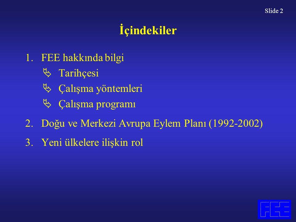 Slide 2 İçindekiler 1.FEE hakkında bilgi  Tarihçesi  Çalışma yöntemleri  Çalışma programı 2.Doğu ve Merkezi Avrupa Eylem Planı (1992-2002) 3.Yeni ülkelere ilişkin rol
