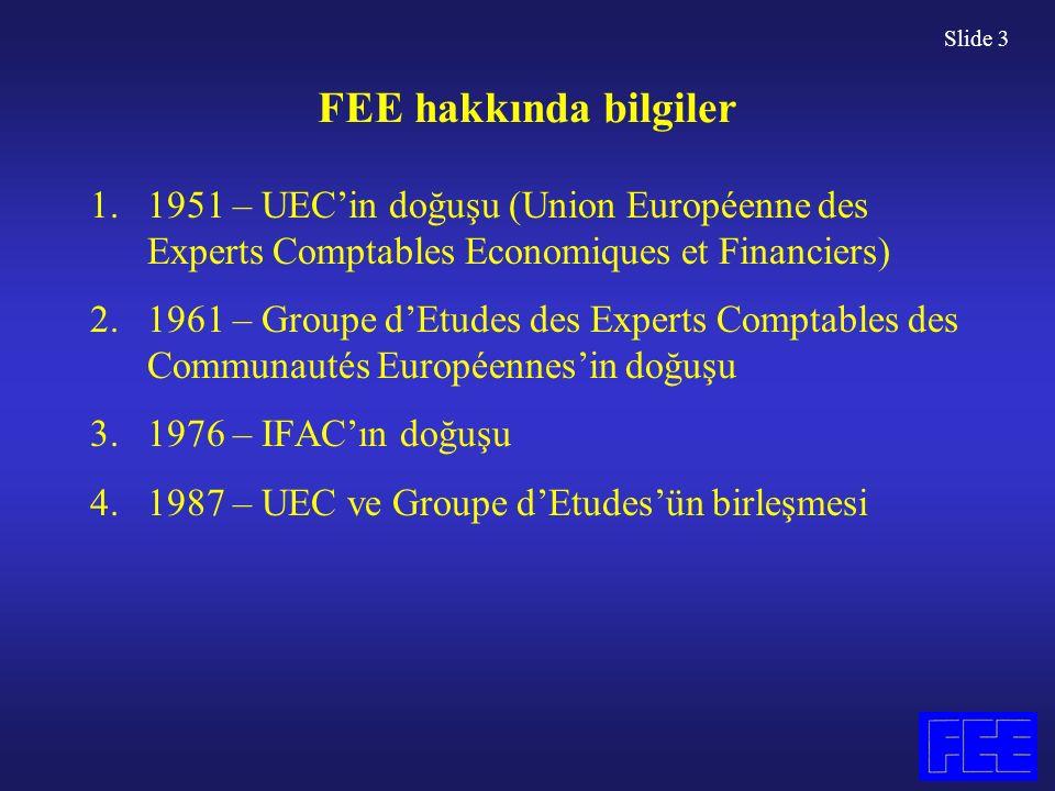 Slide 3 FEE hakkında bilgiler 1.1951 – UEC'in doğuşu (Union Européenne des Experts Comptables Economiques et Financiers) 2.1961 – Groupe d'Etudes des Experts Comptables des Communautés Européennes'in doğuşu 3.1976 – IFAC'ın doğuşu 4.1987 – UEC ve Groupe d'Etudes'ün birleşmesi
