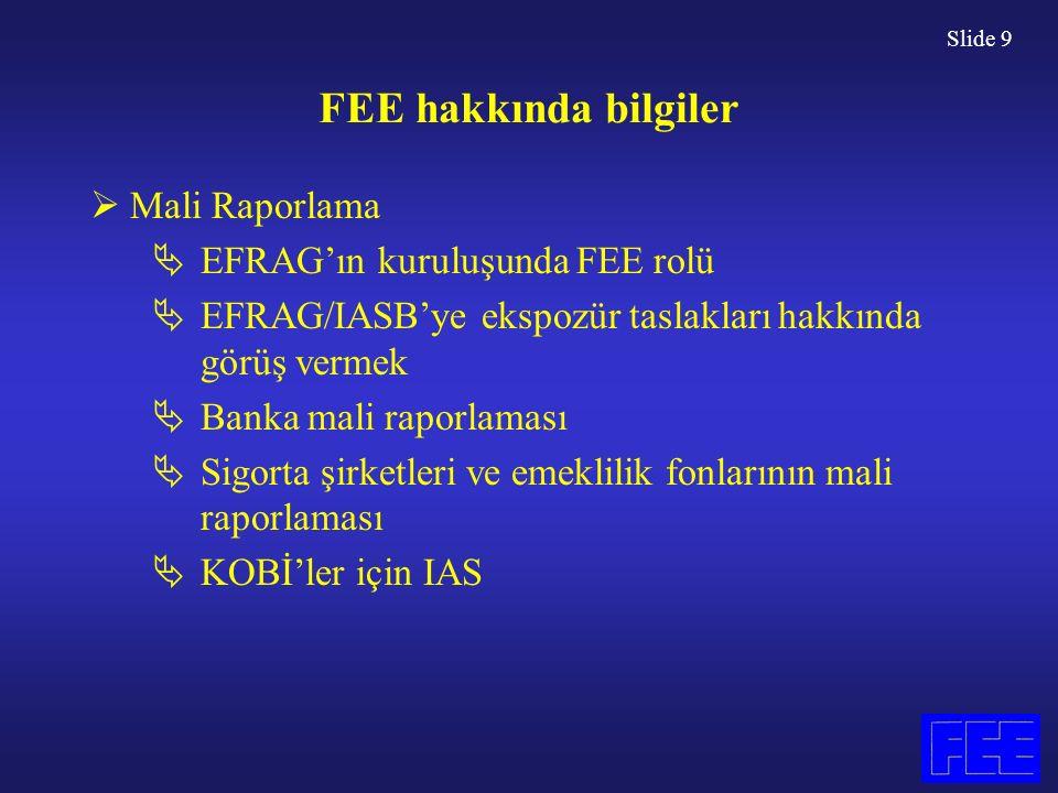 Slide 9 FEE hakkında bilgiler  Mali Raporlama  EFRAG'ın kuruluşunda FEE rolü  EFRAG/IASB'ye ekspozür taslakları hakkında görüş vermek  Banka mali raporlaması  Sigorta şirketleri ve emeklilik fonlarının mali raporlaması  KOBİ'ler için IAS