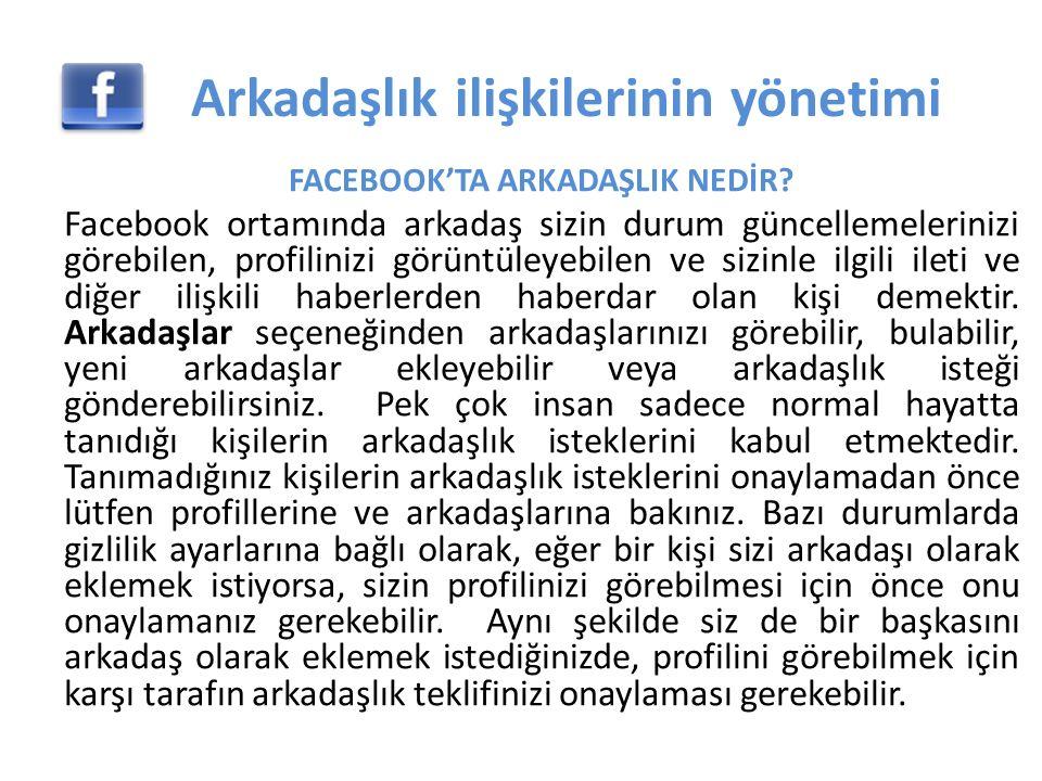 FACEBOOK'TA ARKADAŞLIK NEDİR.