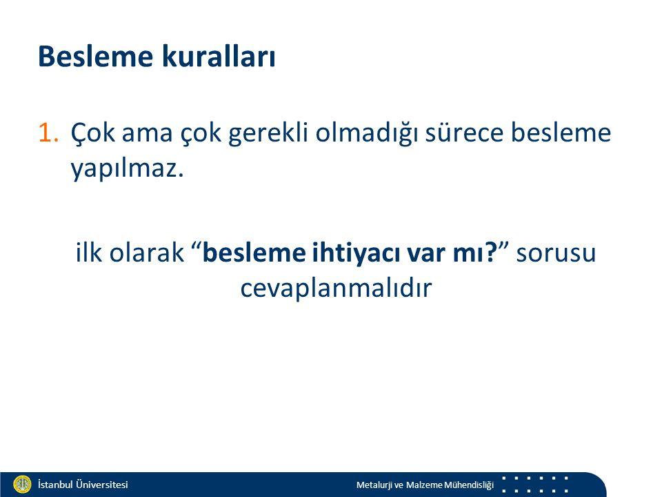 Materials and Chemistry İstanbul Üniversitesi Metalurji ve Malzeme Mühendisliği İstanbul Üniversitesi Metalurji ve Malzeme Mühendisliği Besleme kuralları 1.Çok ama çok gerekli olmadığı sürece besleme yapılmaz.