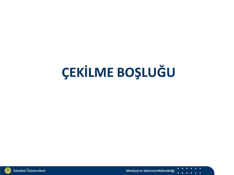 Materials and Chemistry İstanbul Üniversitesi Metalurji ve Malzeme Mühendisliği İstanbul Üniversitesi Metalurji ve Malzeme Mühendisliği Çekilme boşluğu metalkristal yapıergime d sıvı (kg/m 3 )d katı (kg/m 3 ) % hacim YMK HMK HSP T R