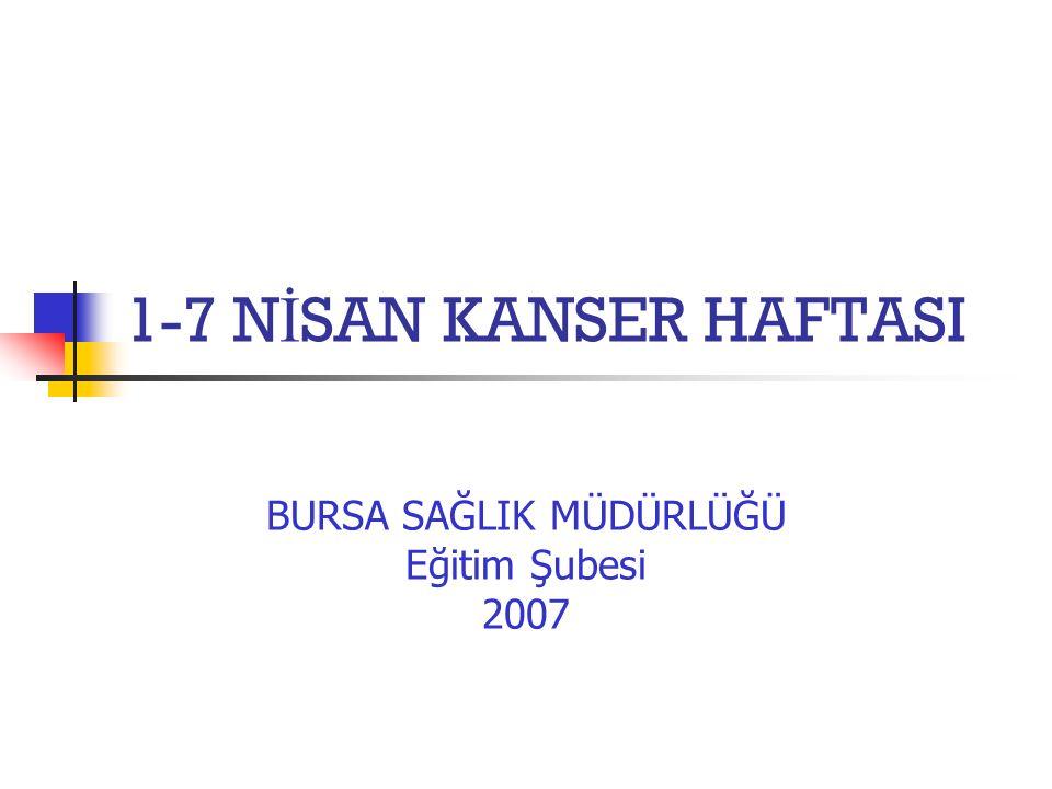 1-7 N İ SAN KANSER HAFTASI BURSA SAĞLIK MÜDÜRLÜĞÜ Eğitim Şubesi 2007