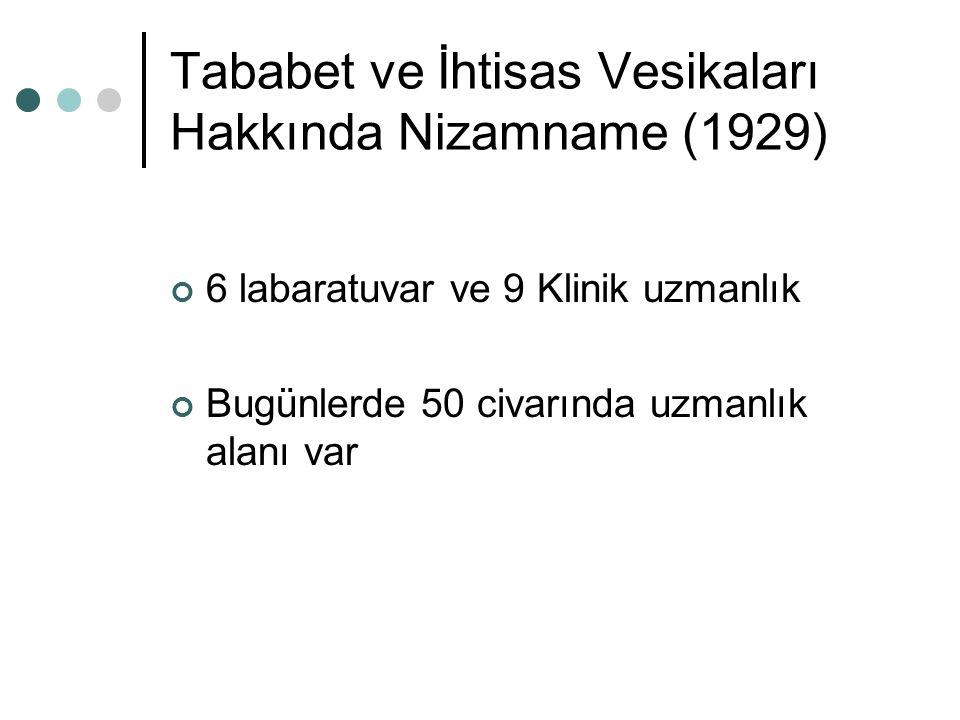Tababet ve İhtisas Vesikaları Hakkında Nizamname (1929) 6 labaratuvar ve 9 Klinik uzmanlık Bugünlerde 50 civarında uzmanlık alanı var