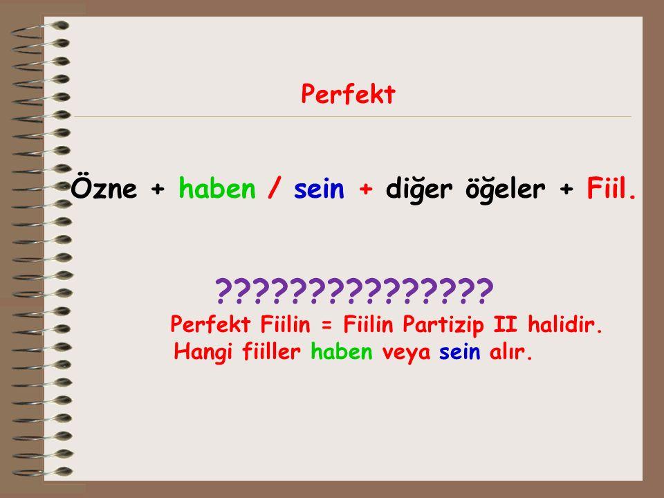Perfekt Özne + haben / sein + diğer öğeler + Fiil. ??????????????? Perfekt Fiilin = Fiilin Partizip II halidir. Hangi fiiller haben veya sein alır.