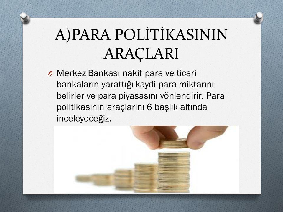  Para politikasını yürüten Merkez Bankası, kendisini verilen yetkilere dayanarak para arzını denetler ve para piyasasını düzenler. İlke olarak, para