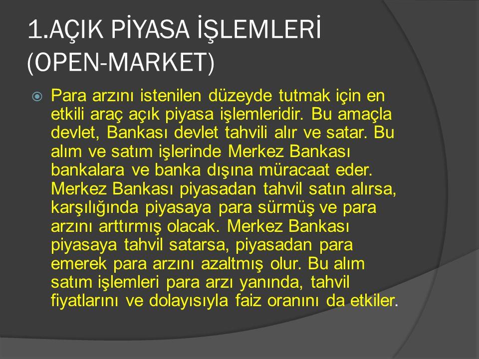 1.AÇIK PİYASA İŞLEMLERİ (OPEN-MARKET)  Para arzını istenilen düzeyde tutmak için en etkili araç açık piyasa işlemleridir.