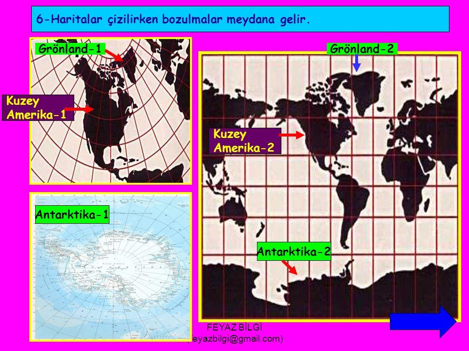 FEYAZ BİLGİ (feyazbilgi@gmail.com) 5- Paralellerin boyları ve çapları,kutuplara doğru küçülür.Meridyenlerin ise,Ekvatordan kutuplara doğru aralarındaki mesafe azalır ve kutuplarda birleşirler.