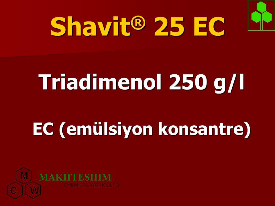 Shavit ® 25 EC  Shavit® 25 EC sistemik bir ilaçtır  Hastalıklara karşı koruyucu, tedavi ve eradike edici olarak etki etmektedir.