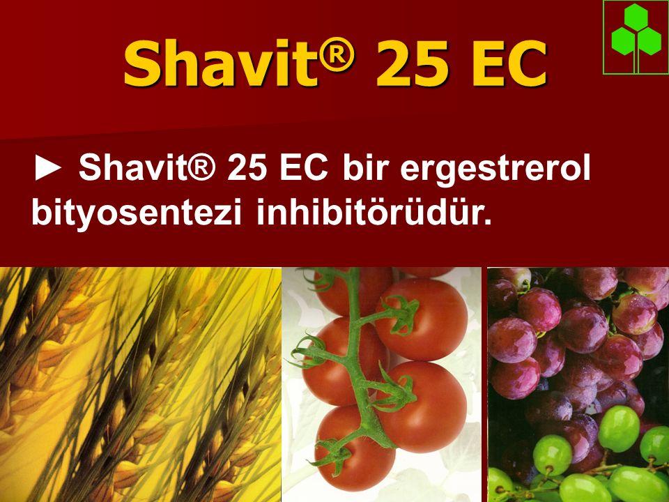 Shavit ® 25 EC  Aktif madde Triadimenol genç doku hücrelerinin translokasyonu ile kökler ve yapraklardan absorbe edilir.
