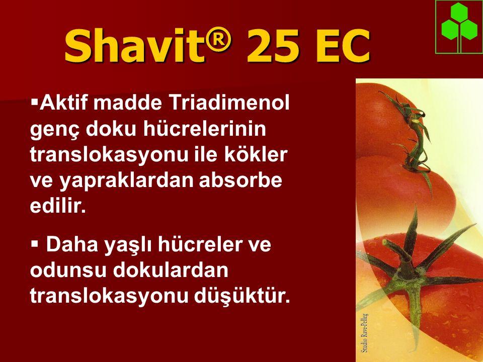 Shavit ® 25 EC  Aktif madde Triadimenol genç doku hücrelerinin translokasyonu ile kökler ve yapraklardan absorbe edilir.  Daha yaşlı hücreler ve odu