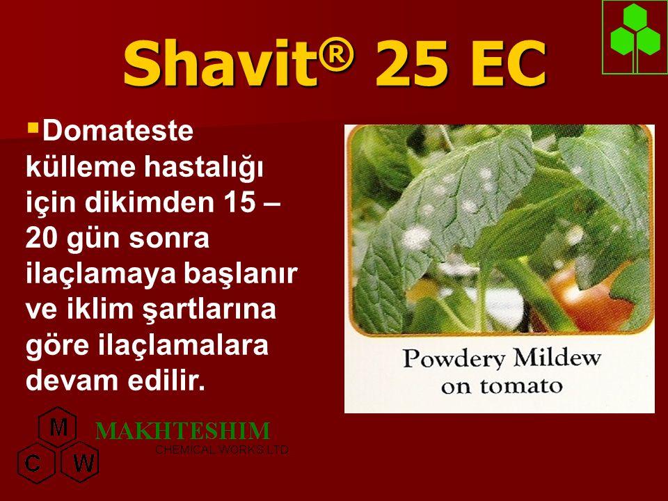 Shavit ® 25 EC  Bağda külleme hastalığına karşı: Sürgünler 25-30 cm iken ilaçlamaya başlanır.