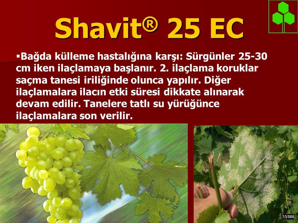 Shavit ® 25 EC  Bağda külleme hastalığına karşı: Sürgünler 25-30 cm iken ilaçlamaya başlanır. 2. ilaçlama koruklar saçma tanesi iriliğinde olunca yap
