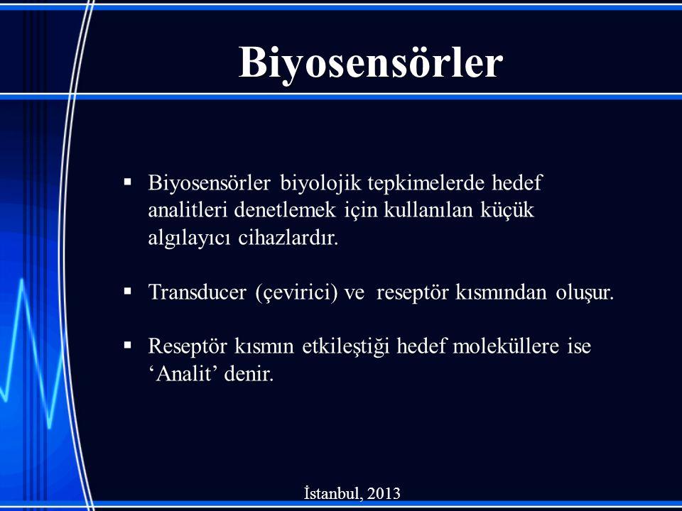 Biyosensörler  Biyosensörler biyolojik tepkimelerde hedef analitleri denetlemek için kullanılan küçük algılayıcı cihazlardır.