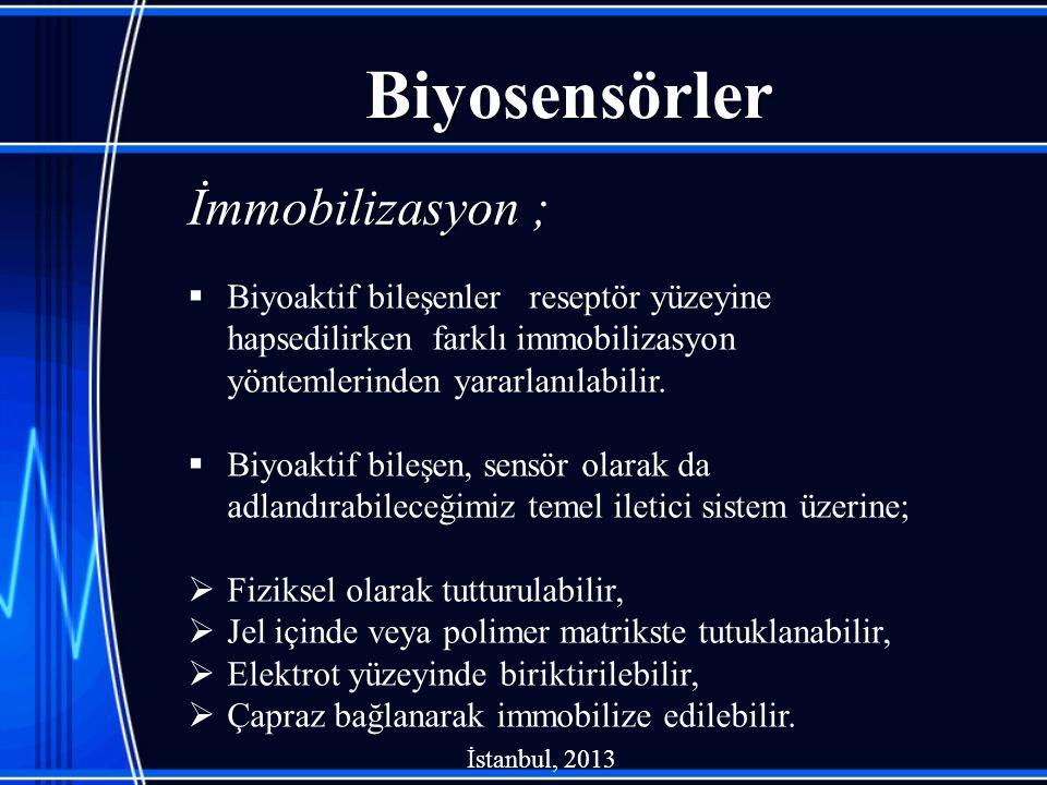 Biyosensörler  Biyoaktif bileşenler reseptör yüzeyine hapsedilirken farklı immobilizasyon yöntemlerinden yararlanılabilir.