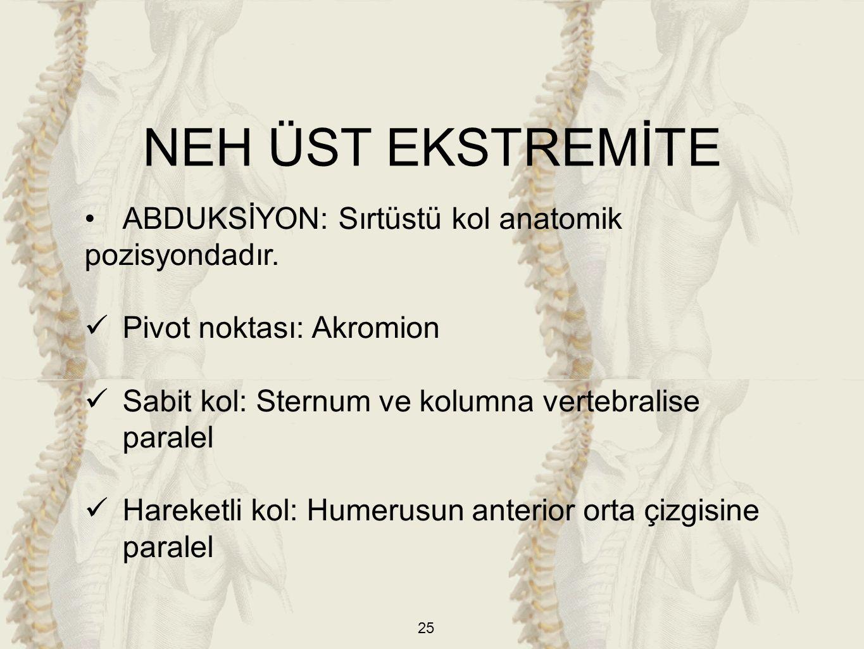 25 ABDUKSİYON: Sırtüstü kol anatomik pozisyondadır. Pivot noktası: Akromion Sabit kol: Sternum ve kolumna vertebralise paralel Hareketli kol: Humerusu