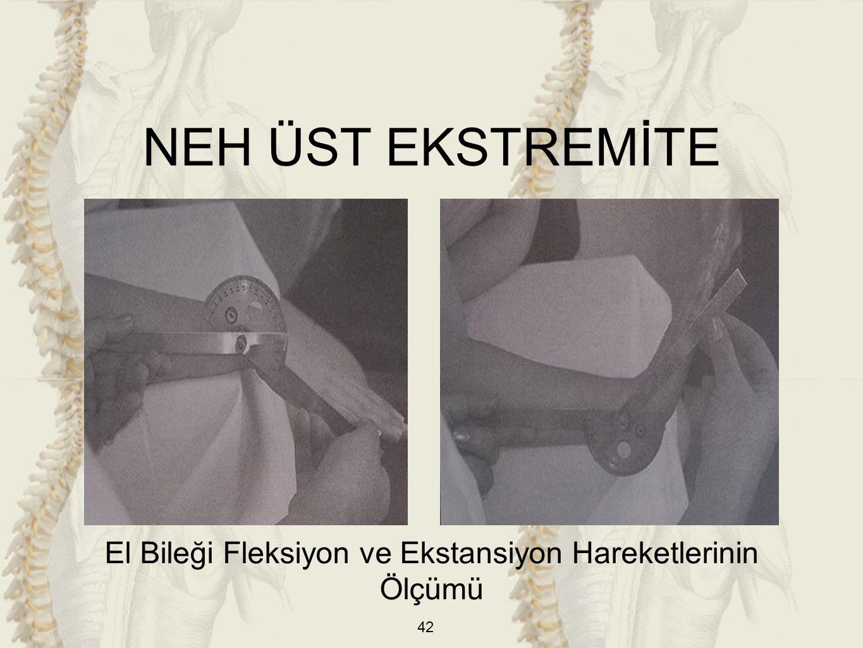 42 El Bileği Fleksiyon ve Ekstansiyon Hareketlerinin Ölçümü NEH ÜST EKSTREMİTE