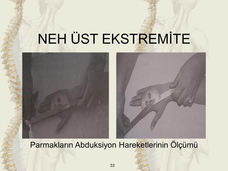 53 Parmakların Abduksiyon Hareketlerinin Ölçümü NEH ÜST EKSTREMİTE