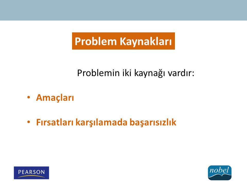Problemin iki kaynağı vardır: Amaçları Fırsatları karşılamada başarısızlık Problem Kaynakları