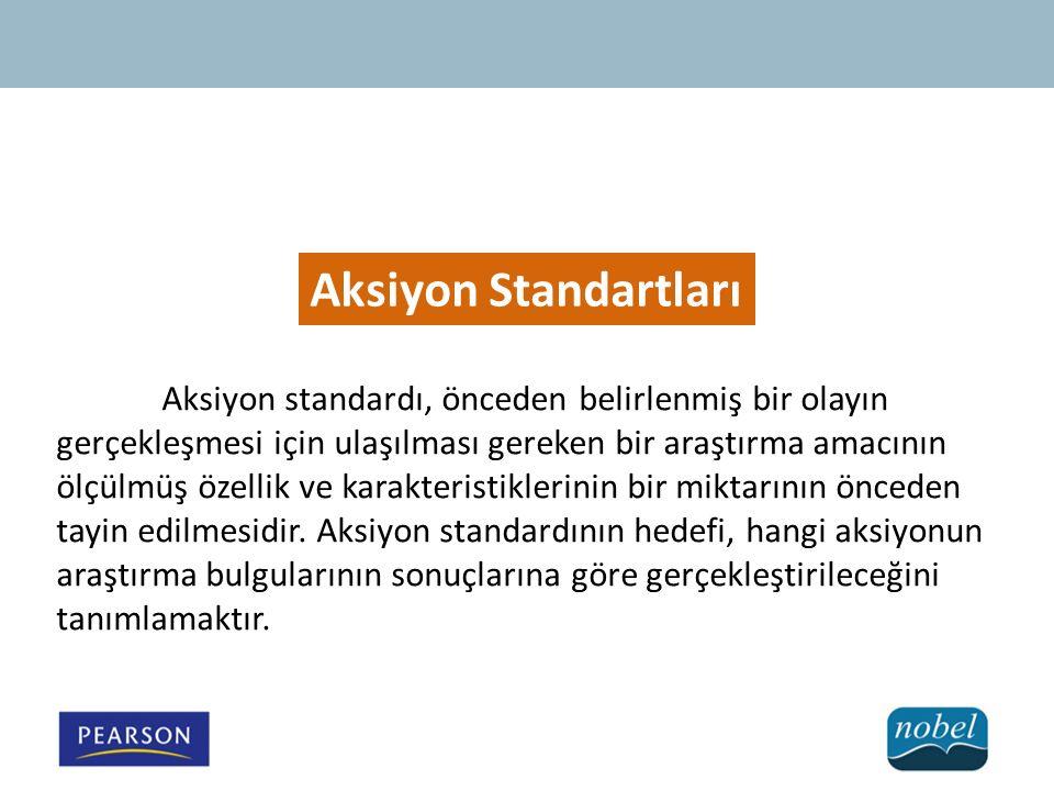 Aksiyon Standartları Aksiyon standardı, önceden belirlenmiş bir olayın gerçekleşmesi için ulaşılması gereken bir araştırma amacının ölçülmüş özellik ve karakteristiklerinin bir miktarının önceden tayin edilmesidir.