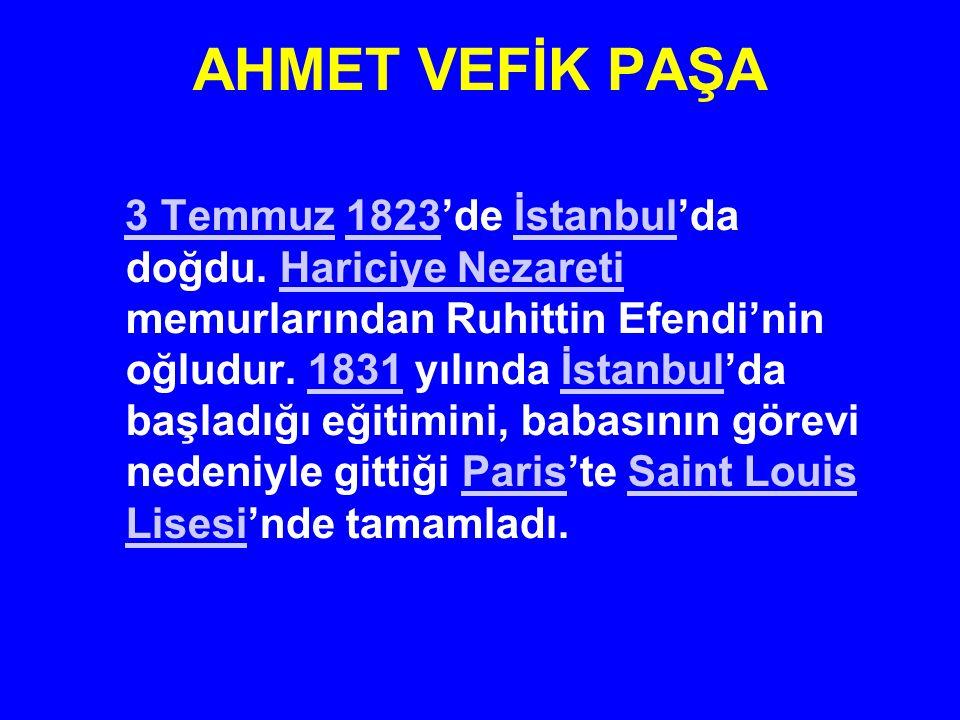 AHMET VEFİK PAŞA 3 Temmuz 1823'de İstanbul'da doğdu. Hariciye Nezareti memurlarından Ruhittin Efendi'nin oğludur. 1831 yılında İstanbul'da başladığı e