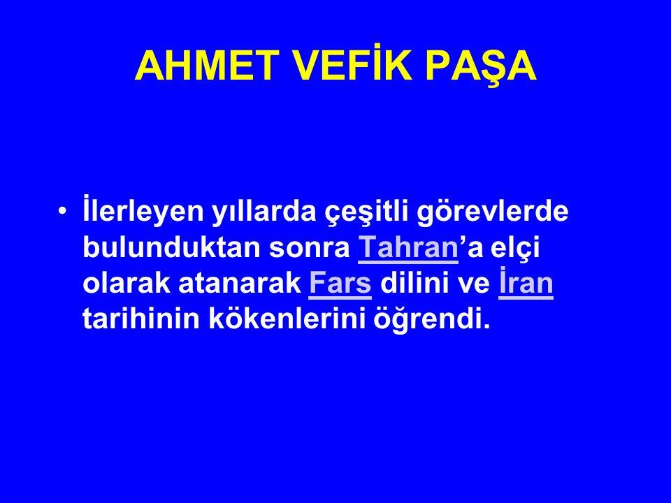 AHMET VEFİK PAŞA Sırbistan, İzmir, Eflak ve Boğdan'da görev yaptıktan sonra 1842 de İstanbul'a döndüğünde başmütercim olarak tercüme odasında görev aldı ve Devlet Salnamesi (Yıllığı) hazırlanmasında görevlendirildi.SırbistanİzmirEflakBoğdan1842 İstanbulSalnamesi