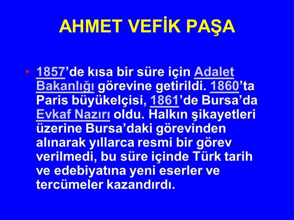 AHMET VEFİK PAŞA 1857'de kısa bir süre için Adalet Bakanlığı görevine getirildi. 1860'ta Paris büyükelçisi, 1861'de Bursa'da Evkaf Nazırı oldu. Halkın