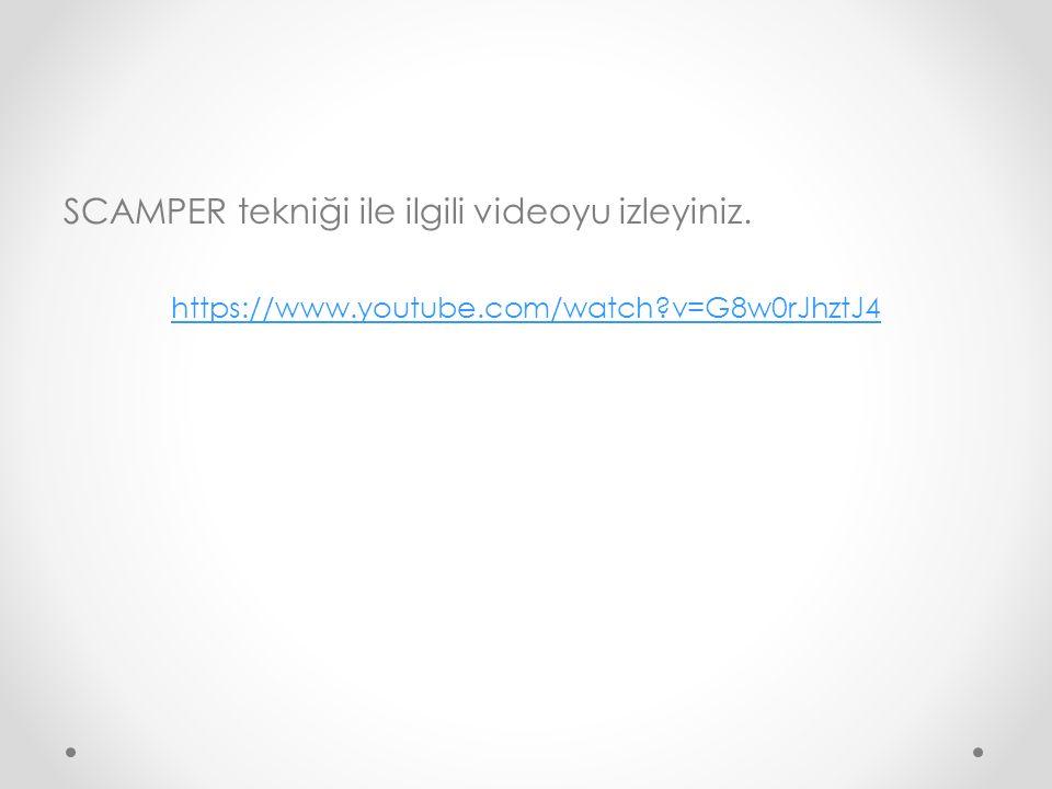SCAMPER tekniği ile ilgili videoyu izleyiniz. https://www.youtube.com/watch?v=G8w0rJhztJ4