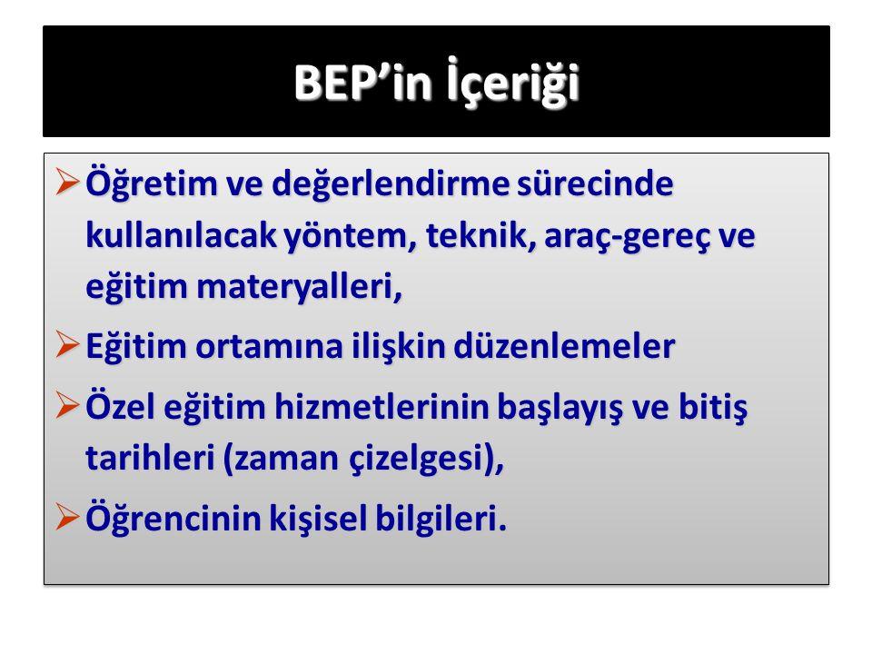 BEP'in İçeriği  Öğretim ve değerlendirme sürecinde kullanılacak yöntem, teknik, araç-gereç ve eğitim materyalleri,  Eğitim ortamına ilişkin düzenlem