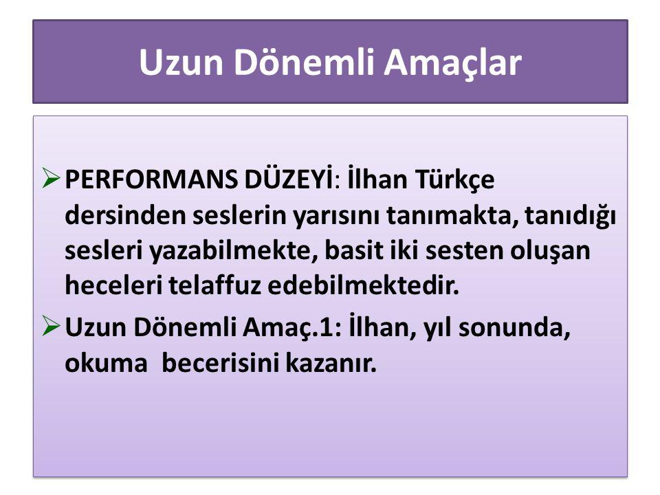 Uzun Dönemli Amaçlar  PERFORMANS DÜZEYİ: İlhan Türkçe dersinden seslerin yarısını tanımakta, tanıdığı sesleri yazabilmekte, basit iki sesten oluşan h