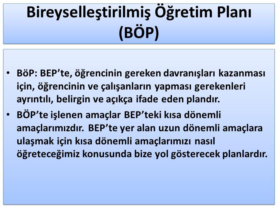 Bireyselleştirilmiş Öğretim Planı (BÖP) BöP: BEP'te, öğrencinin gereken davranışları kazanması için, öğrencinin ve çalışanların yapması gerekenleri ay