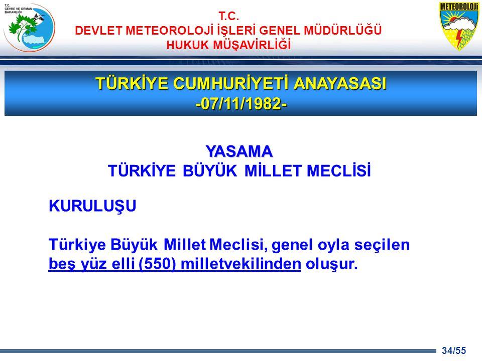 34/55 T.C. DEVLET METEOROLOJİ İŞLERİ GENEL MÜDÜRLÜĞÜ HUKUK MÜŞAVİRLİĞİ TÜRKİYE CUMHURİYETİ ANAYASASI -07/11/1982- KURULUŞU Türkiye Büyük Millet Meclis