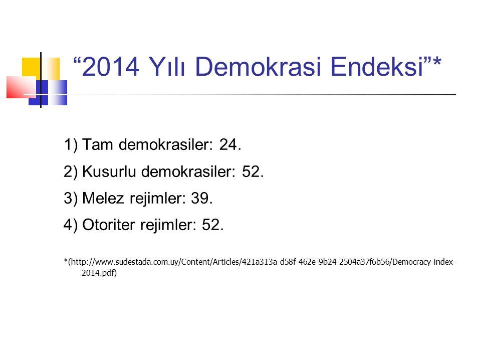 2014 Yılı Demokrasi Endeksi * 1) Tam demokrasiler: 24.