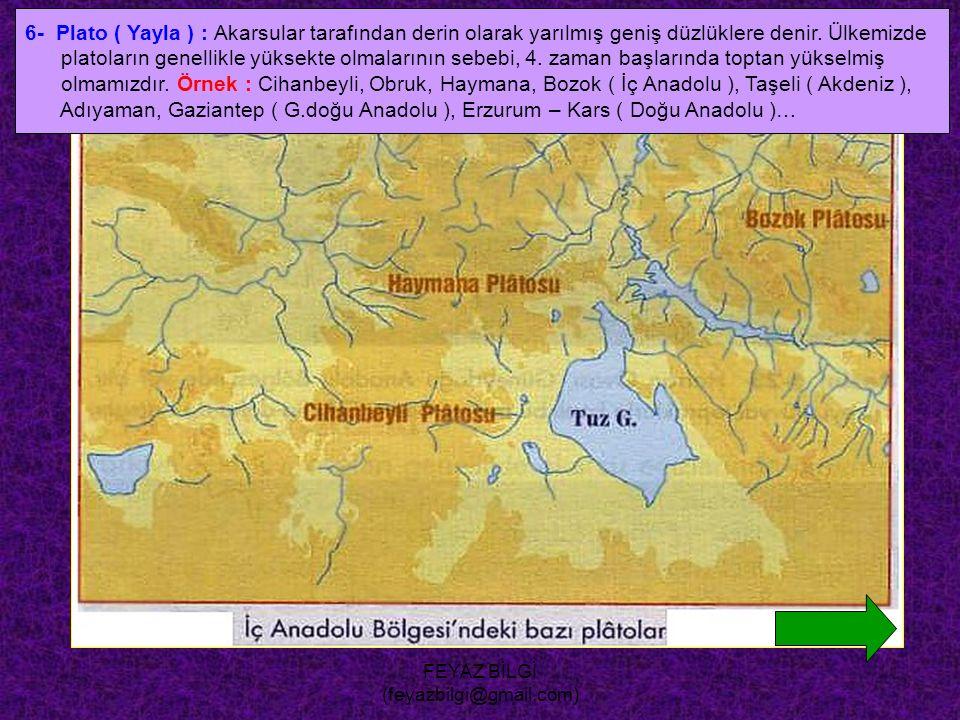 FEYAZ BİLGİ (feyazbilgi@gmail.com) 5- Kırgıbayır ( badlands ) : Bitki örtüsünce fakir eğimli yamaçların, sel suları ile aşındırılması sonucu dilik- di