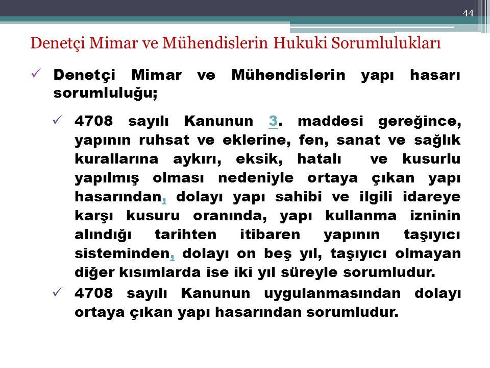 44 Denetçi Mimar ve Mühendislerin Hukuki Sorumlulukları Denetçi Mimar ve Mühendislerin yapı hasarı sorumluluğu; 4708 sayılı Kanunun 3. maddesi gereğin