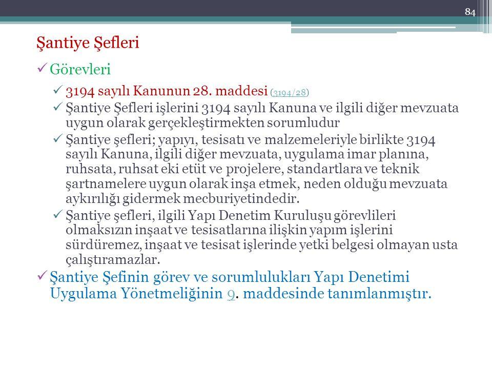 84 Şantiye Şefleri Görevleri 3194 sayılı Kanunun 28. maddesi (3194/28)3194/28 Şantiye Şefleri işlerini 3194 sayılı Kanuna ve ilgili diğer mevzuata uyg