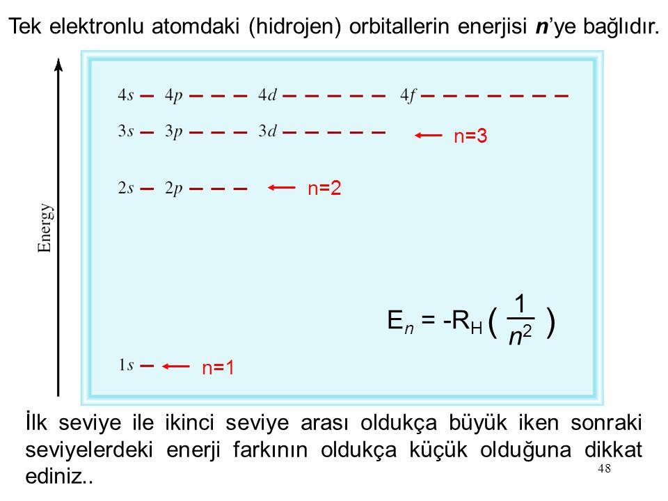 48 Tek elektronlu atomdaki (hidrojen) orbitallerin enerjisi n'ye bağlıdır. E n = -R H ( ) 1 n2n2 n=1 n=2 n=3 İlk seviye ile ikinci seviye arası oldukç