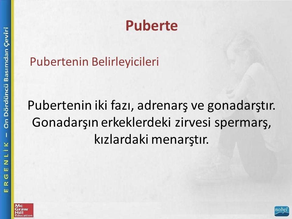 Puberte Pubertenin Belirleyicileri Pubertenin iki fazı, adrenarş ve gonadarştır.