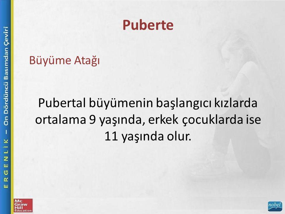 Puberte Büyüme Atağı Pubertal büyümenin başlangıcı kızlarda ortalama 9 yaşında, erkek çocuklarda ise 11 yaşında olur.
