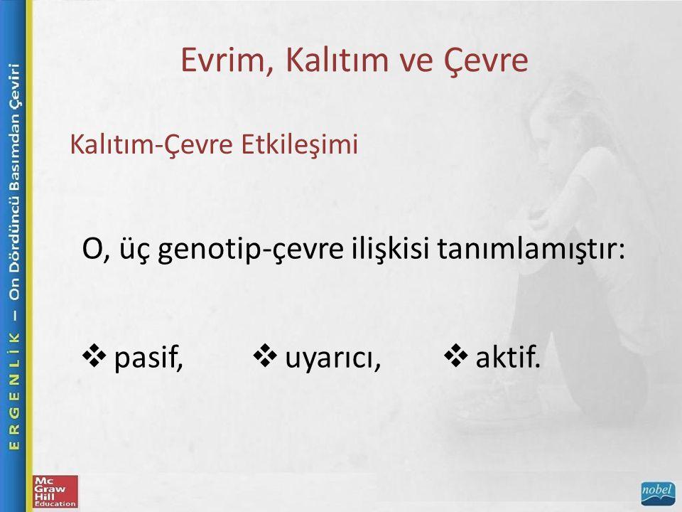 Evrim, Kalıtım ve Çevre Kalıtım-Çevre Etkileşimi O, üç genotip-çevre ilişkisi tanımlamıştır:  pasif,  uyarıcı,  aktif.