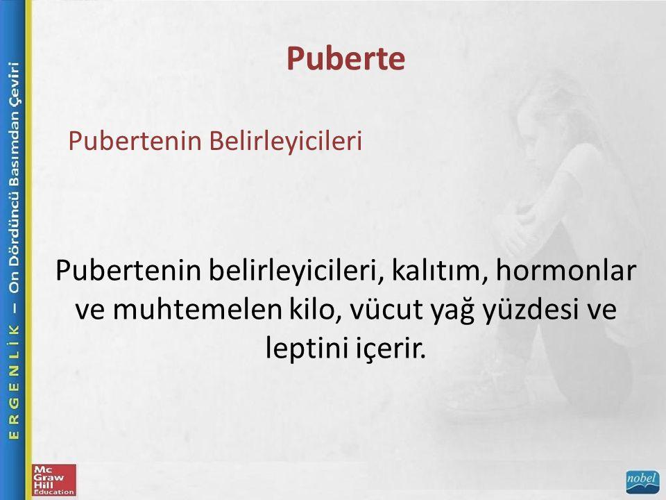 Puberte Pubertenin Belirleyicileri Pubertenin belirleyicileri, kalıtım, hormonlar ve muhtemelen kilo, vücut yağ yüzdesi ve leptini içerir.