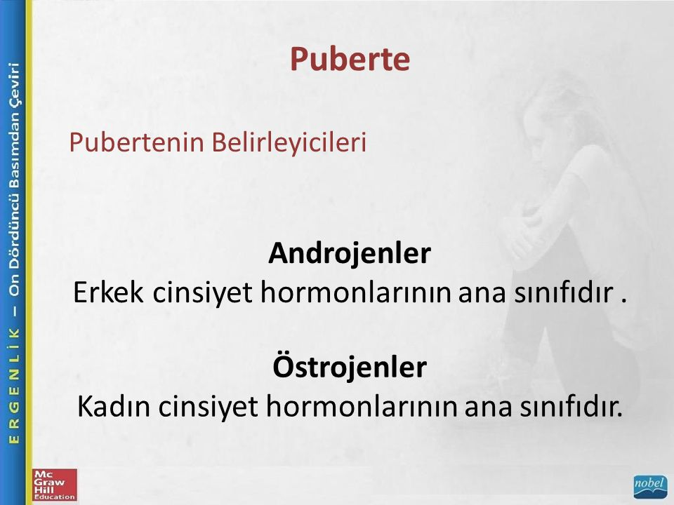 Puberte Pubertenin Belirleyicileri Androjenler Erkek cinsiyet hormonlarının ana sınıfıdır.