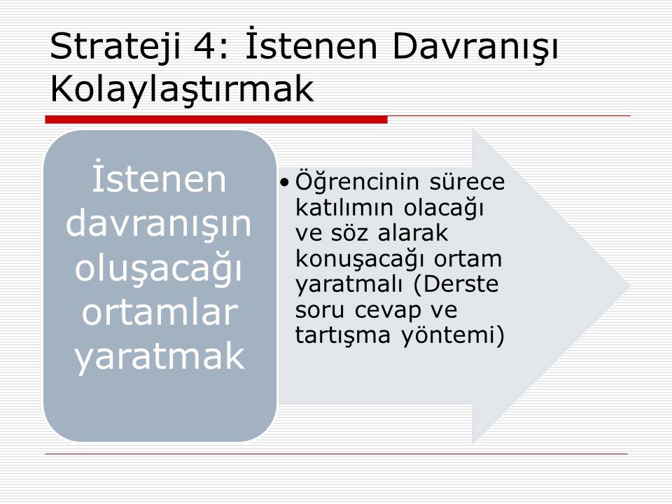 Strateji 4: İstenen Davranışı Kolaylaştırmak Öğrencinin sürece katılımın olacağı ve söz alarak konuşacağı ortam yaratmalı (Derste soru cevap ve tartış