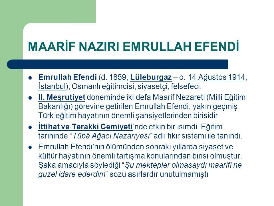 MAARİF NAZIRI EMRULLAH EFENDİ Emrullah Efendi (d. 1859, Lüleburgaz – ö. 14 Ağustos 1914, İstanbul), Osmanlı eğitimcisi, siyasetçi, felsefeci.1859Lüleb